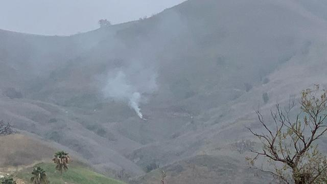 The helicopter crashed in the Calabasas hills.