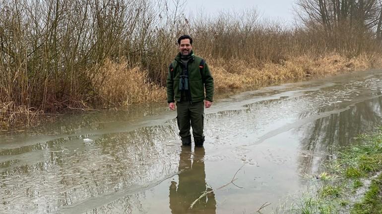 Boswachter Jeroen den Hartog bijna tot de knieën in het water (Foto: RTV Oost / Teun van der Velden)