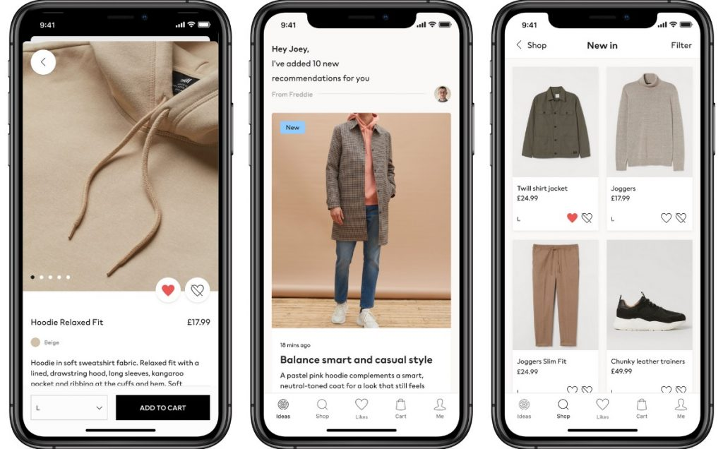 H&M launched an app that provides men's clothing advice