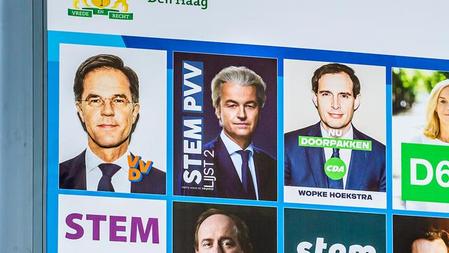 Poster of PVV among other parties on election board in The Hague.  (Image: ANP)