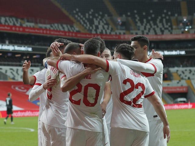 Turkish players celebrate Genk Tucson's goal against Croatia on November 11, 2020
