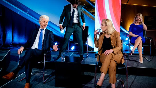 Geert Wilders (PVV), Jesse Claver (GroenLinks), Sigrid Cage (D66) and Lillian Marijnesen (SP).