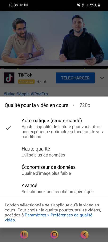 Youtube app adds new controls for the quality of videos.  // Source: Frandroid