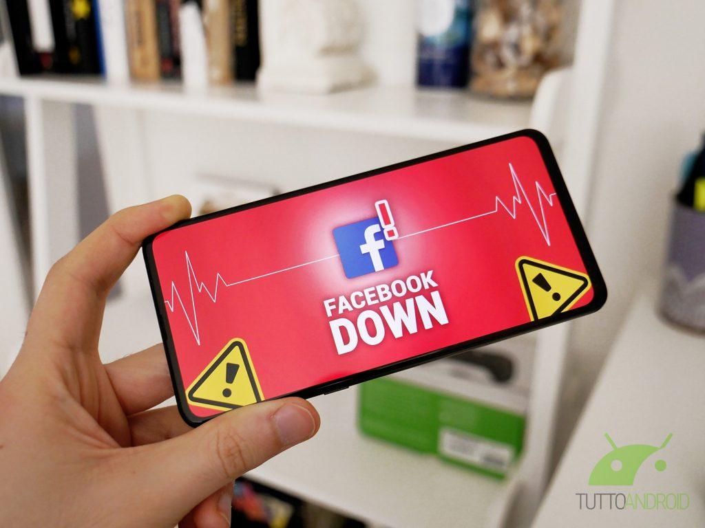 Facebook down non funziona malfunzionamento