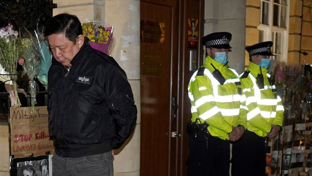 Myanmar ambassador in London does not enter his private embassy