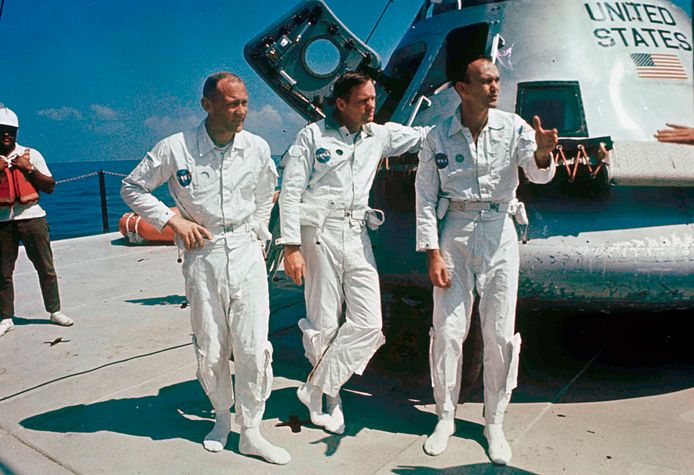 Apollo 11 crew (left to right): Edwin Buzz Aldrin, Neil Armstrong, and Michael Collins.