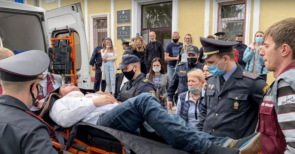 Belarusian political activist stabs himself in the neck during trial
