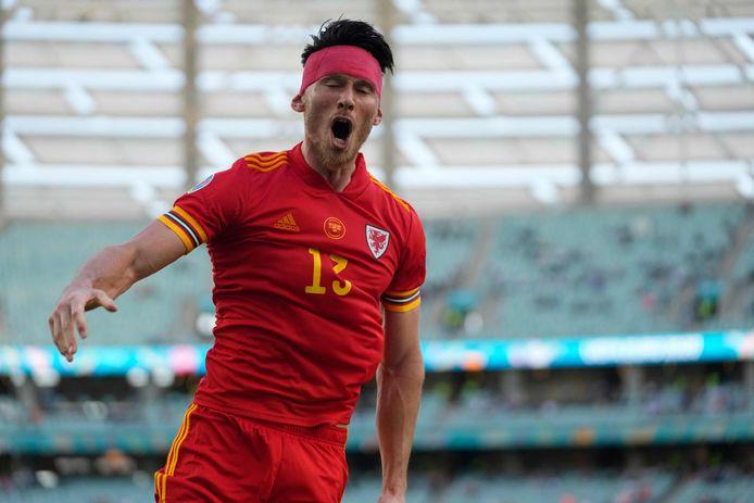 Kiefer Moore celebrates Wales 1-1 against Switzerland.