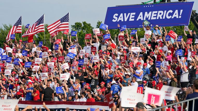 Enthusiastic supporters cheer for former President Trump in Wellington, Ohio.  AP . image