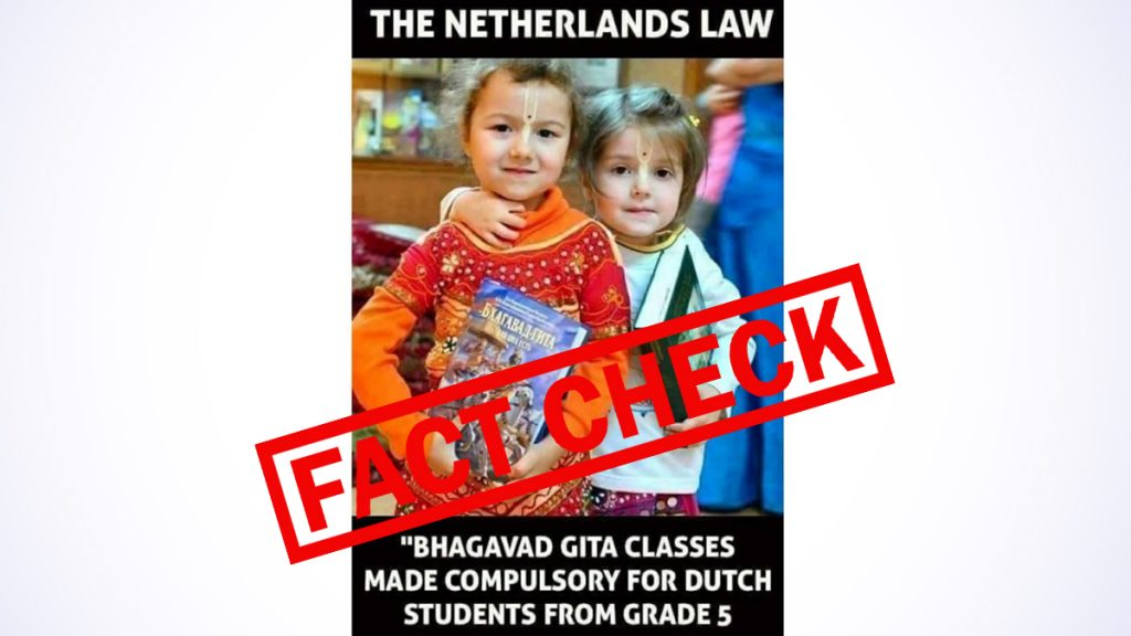 Do you want to make the Bhagavad Gita fun in schools in Holland Group 5?  The old image of two little girls holding sacred Hindu texts is spreading very fast with a false claim