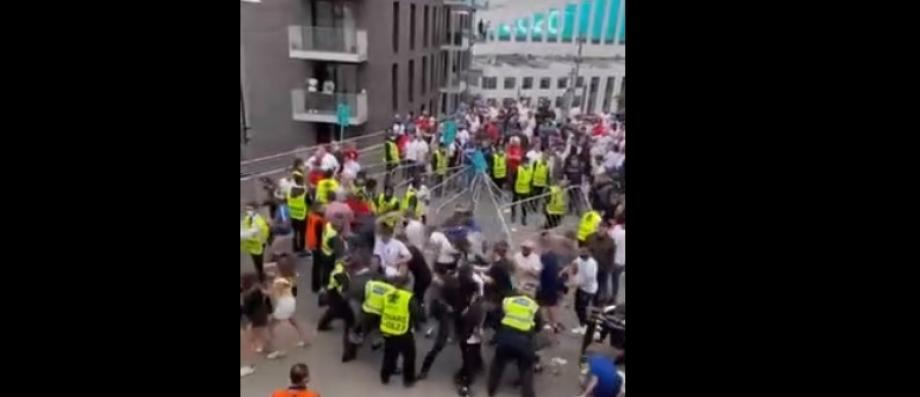 Live broadcast - European Championship final - Chaos at Wembley as dozens of fans tried to erect barriers after violent clashes before the match