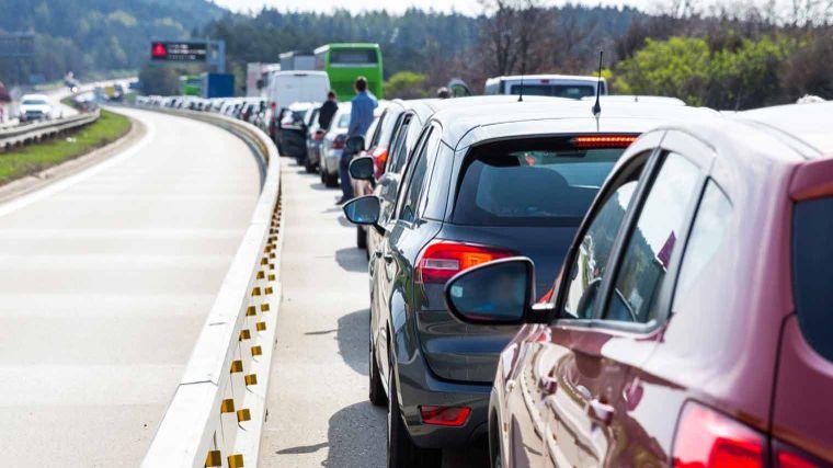 Traffic jam, outside, summer