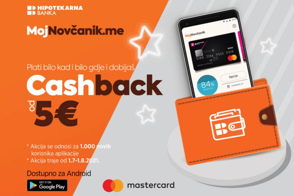 Pay anytime, anywhere with the MojNovčanik app and get 5€ cashback