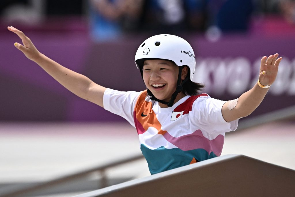 Skateboarder Nichia Momiji, 13, becomes one of the youngest ever gold medalists