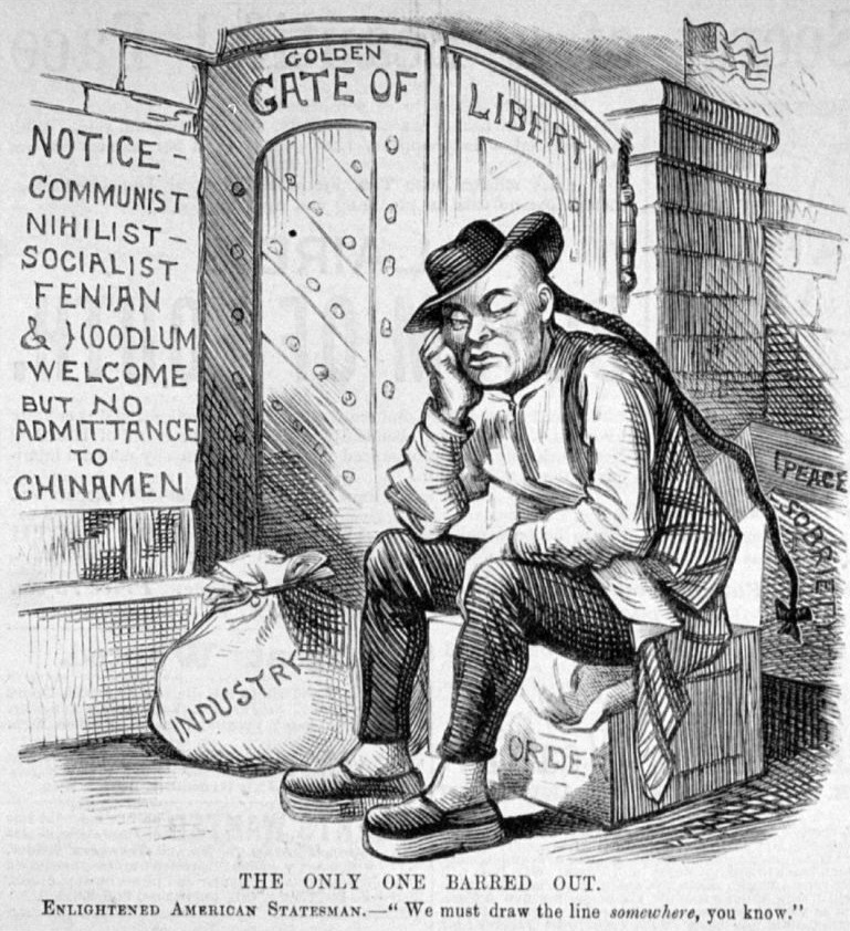 Political cartoon from 1882 showing a Chinese being denied entry to America