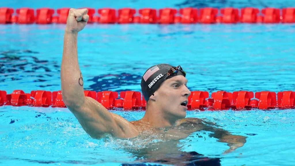 Dressel finishes swimming championships with five gold medals and a world record