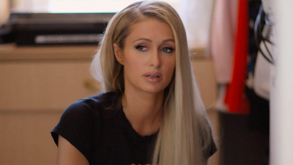 Paris Hilton in a completely transparent suit on insta