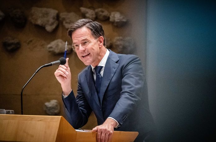 Outgoing Prime Minister Mark Rutte in the House of Representatives.