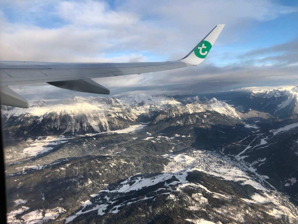 Op wintersport met het vliegtuig